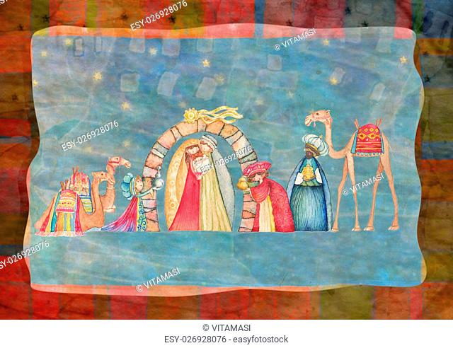 Illustration -Christian Christmas Nativity scene with the three wise men