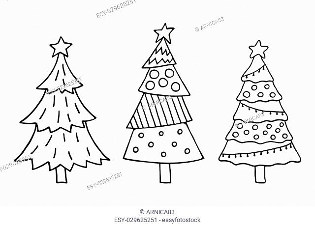 Cute Christmas tree set. Vector illustration