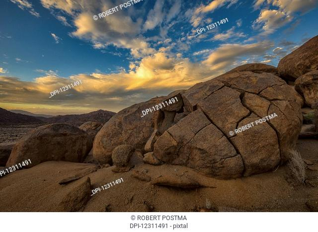 Sunset over the large rounded boulders in Richtersveld National Park; South Africa