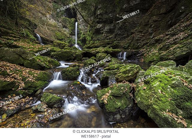 The upper Ferrera waterfalls in an autumn, Ferrera di Varese, Varese district, Lombardy, Italy