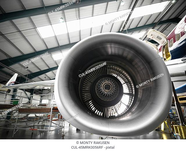 Close up of airplane engine