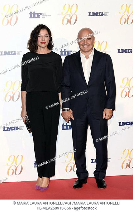Luisa Ranieri and husband Luca Zingaretti during red carpet of 60/90 party, for 60 years of career and ninetieth birthday of Fulvio Lucisano