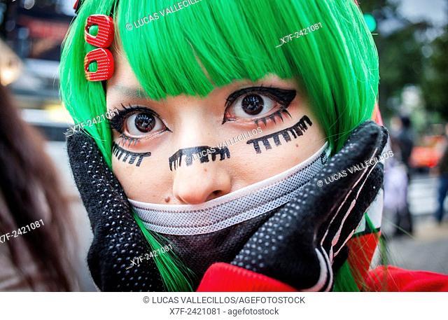 Young and eccentric trendy person in Takeshita Dori, Tokyo, Japan