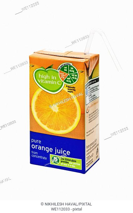 small orange juice drink carton box