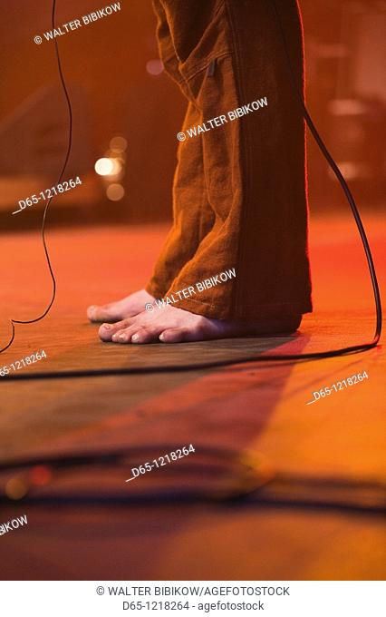 Estonia, Tallinn, Raekoja Plats, Town Hall Square, concert by Ukrainian folk-rock group Svjata Vatra, NR, performer's feet
