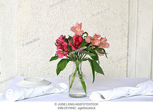 New York City, Manhattan, Small Bud Vase of Flowers Placed on an Outdoor Restaurant Cafe Table for Two