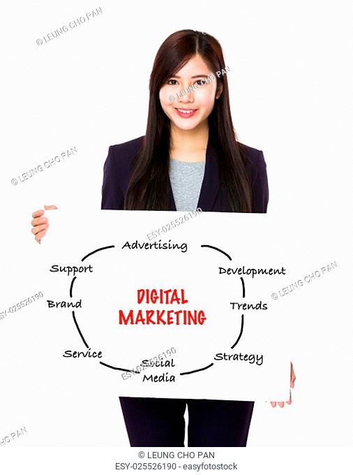 Asian businesswoman showing a poster showing with digital marketing concept