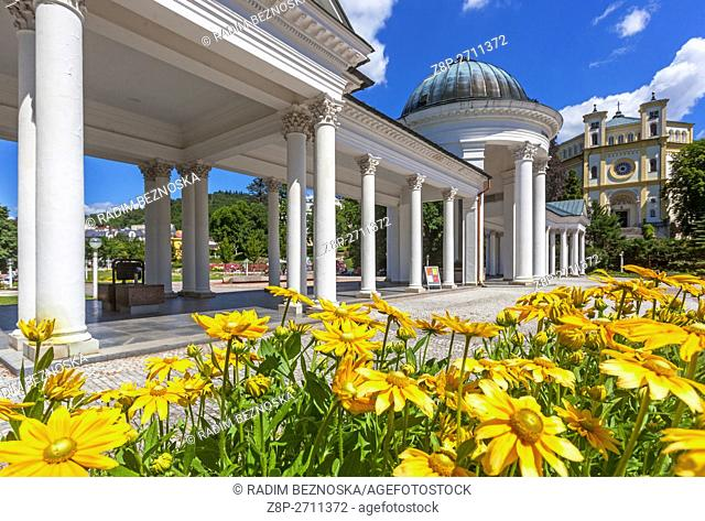 Caroline's Spring, Colonnade, Marianske Lazne (Marienbad), a spa town, West Bohemia, Czech Republic
