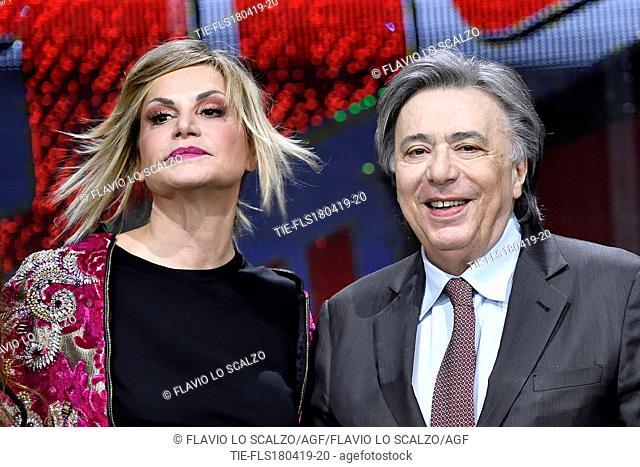 Simona Ventura, Carlo Freccero Director of Rai 2 during the photocall of tv show The voice of Italy, Milan, ITALY-18-04-2019