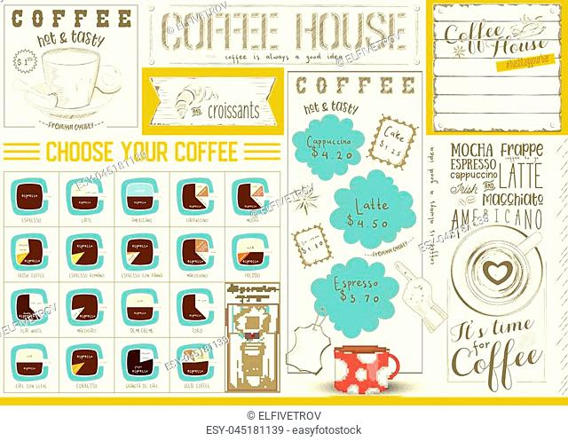 Coffee Menu Placemat Design. Colorful Template for Coffee House and Cafeteria. Retro Style Table Mat. Place for Text. Vector Illustration