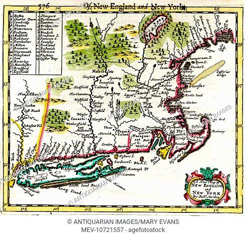 17th century Map of New England, New York, America