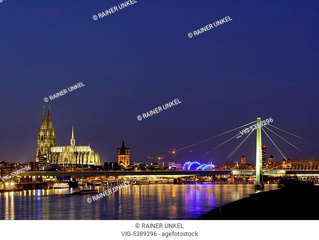 DEU , GERMANY : Panorama of Cologne at Rhine river with Cathedral , Great St.Martin church , Musical Dome of the opera and Severin Bridge , 31.12
