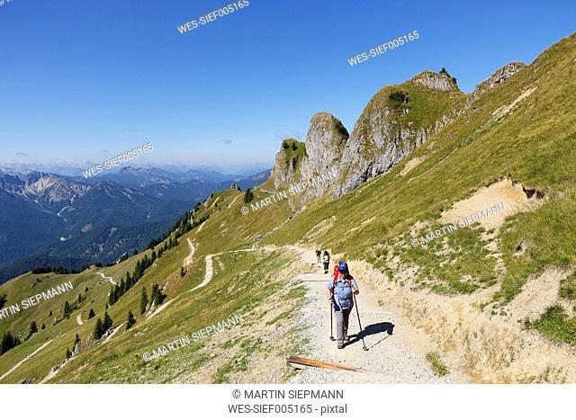 Germany, Bavaria, Mangfall Mountains, Hiker at Rotwand