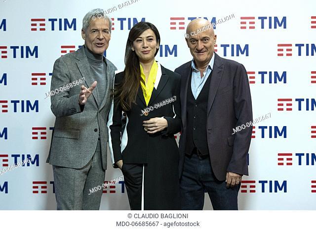 The conductors Claudio Baglioni, Virginia Raffaele e Claudio Bisio in the Press Room of the 69th Sanremo Music Festival. Sanremo (Italy), February 7th, 2019