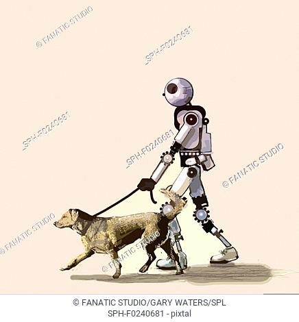 Conceptual illustration of a robot walking a dog depicting the increase use of artificial intelligence in our lives