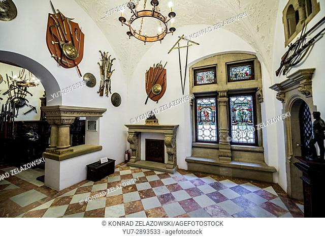 Small Armory Hall in Peles Palace, former royal castle, built between 1873 and 1914, located near Sinaia city in Romania