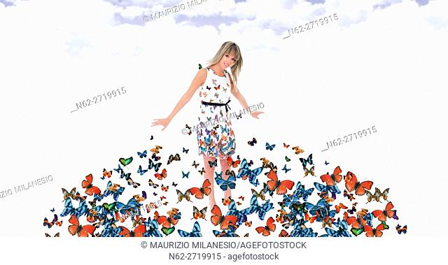 Butterflies fly and they land on the dress of a blond girl in the air suspended in the clouds in a blue sky