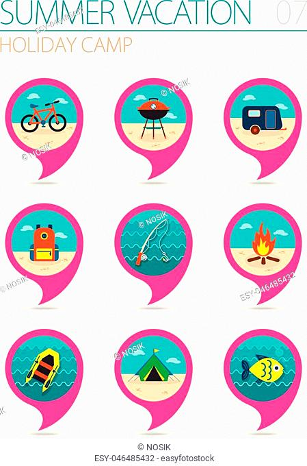 Summer camping vector pin map icon set. Summer time Map pointer. Map markers. Holiday, eps 10