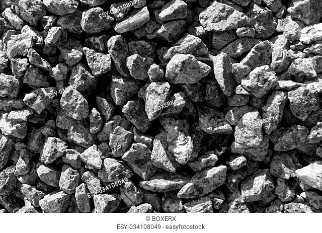 Black and white stones gravel texture macro background