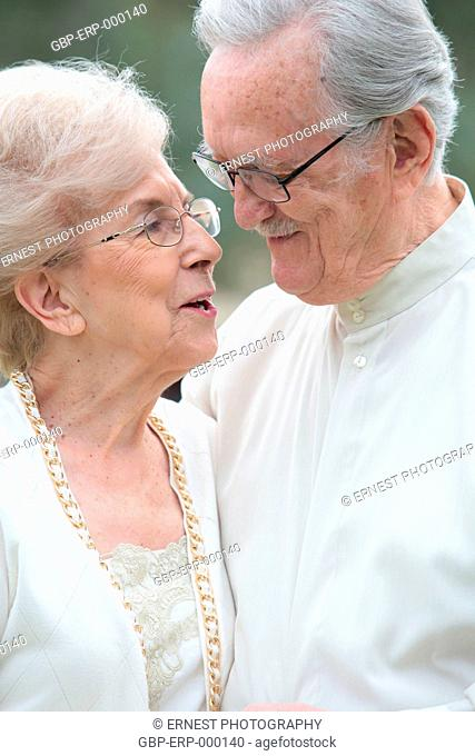 People, couple, elderly, embraced, 70 years