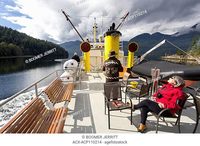 Wheelhouse of the supply boat the Uchuck 111 travelling between Gold River and Friendly Cove along the British Columbia coast, Canada