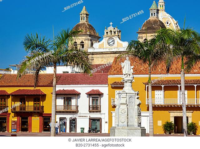 Plaza de la Aduana, San Pedro Claver church, Cartagena de Indias, Bolivar, Colombia, South America