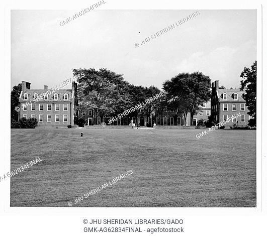 Alumni Memorial Residences II AMR II, Memorial Dormitory, photographed from the west lawn, 1950