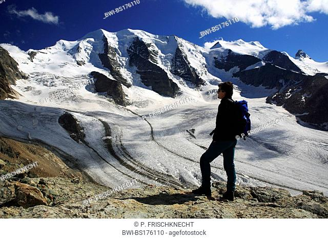 mountain hiker at the Diavolezza on front of Piz Palue, Switzerland, Grisons, Engadine, Bernina-Diavolezza