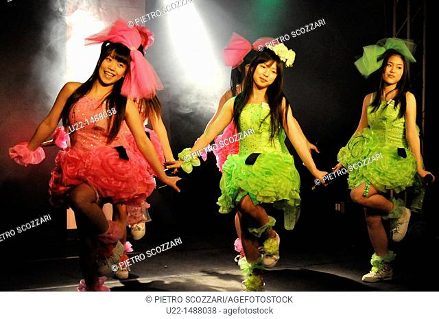Osaka (Japan): young singers of the J-pop band Fanta Peace during a show in Minami