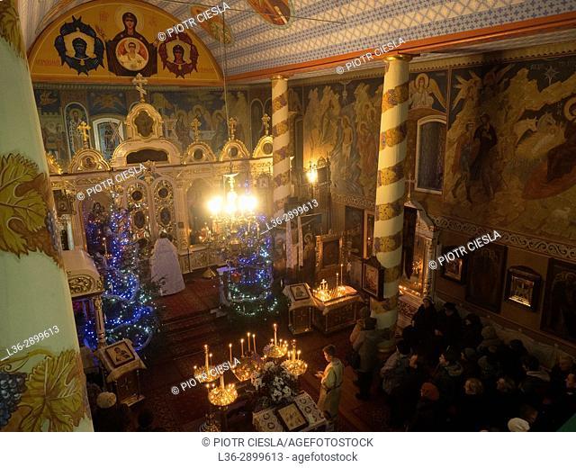 Poland. Christmas Liturgy in the orthodox church in Mielnik. Podlasie region