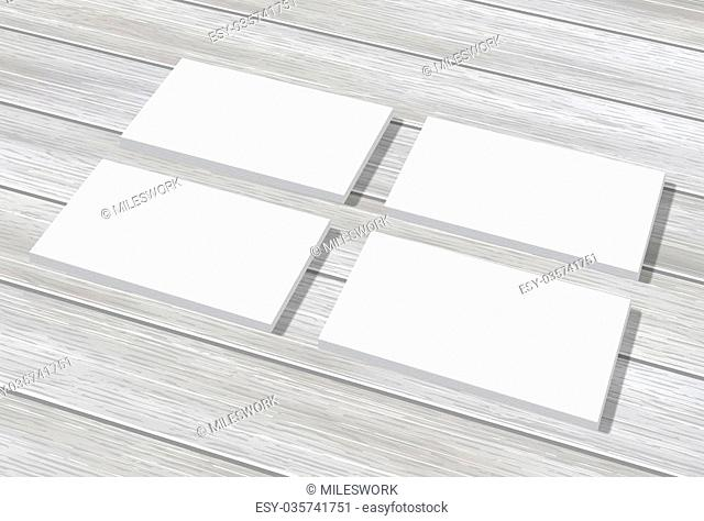 Group of blank business cards mockup on wooden gray background texture. Realistic mock-up illustration