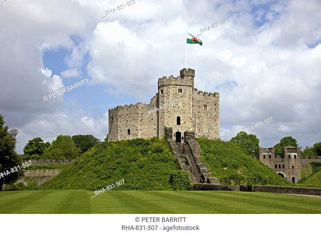 National Flag of Wales flying above the Norman Keep, Cardiff Castle, Cardiff, South Glamorgan, South Wales, Wales, United Kingdom, Europe
