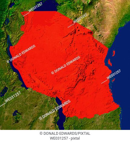 Highlighted satellite image of Tanzania