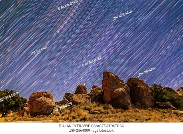 Star trails showing Orion and Taurus rising behind the rock formations of City of Rocks State Park, New Mexico. I shot this Monday, Dec 29, 2014