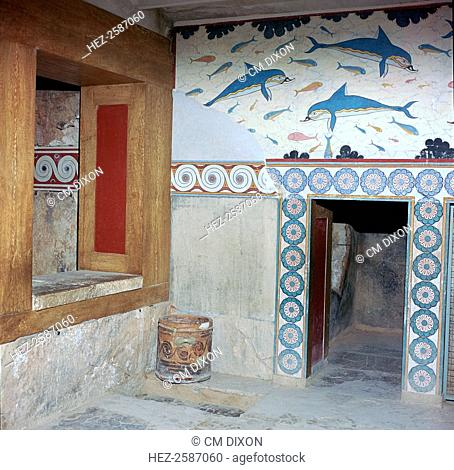Room in the 'Queen's apartments' in the Royal Minoan palace at Knossos on Crete, 17th century