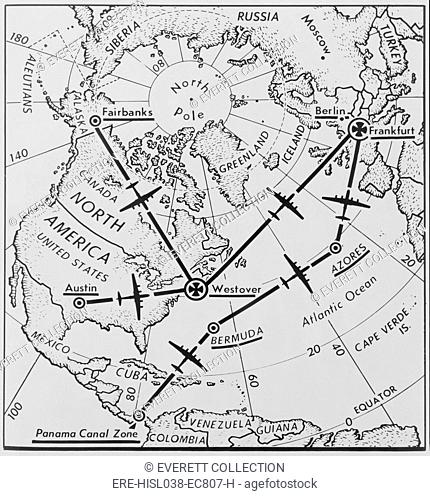 Routes of U.S. Air Force C-54 'Flying Boxcars' from the North America to Frankfurt, Germany. During the winter of Berlin Airlift 1948-49 the city needed 1