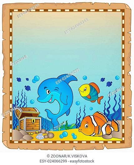 Parchment with underwater theme 8 - picture illustration