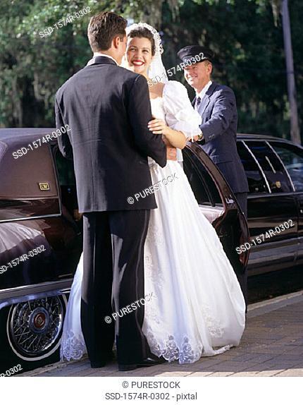 Bride and bridegroom at a wedding