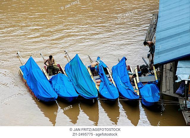 Public transport fast boats at Mekong river at Pak Beng, laos