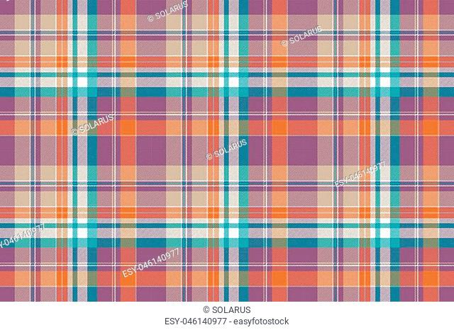 Abstract check plaid cotton texture seamless pattern. Flat design. Vector illustration