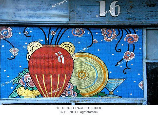 Art decó tiles at Rue Saint Rémy at Bordeaux, Gironde, Aquitaine, France