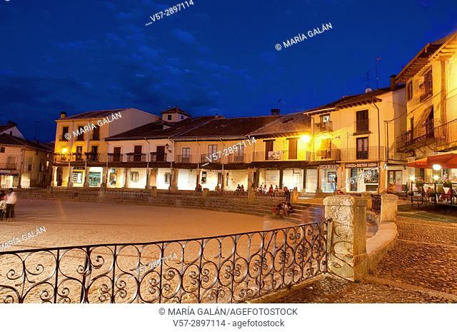 Main Square, night view. Riaza, Segovia province, Castile Leon, Spain