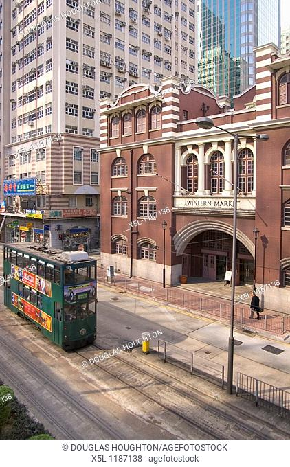 SHEUNG WAN HONG KONG Western Market front green tram Connaught Road West