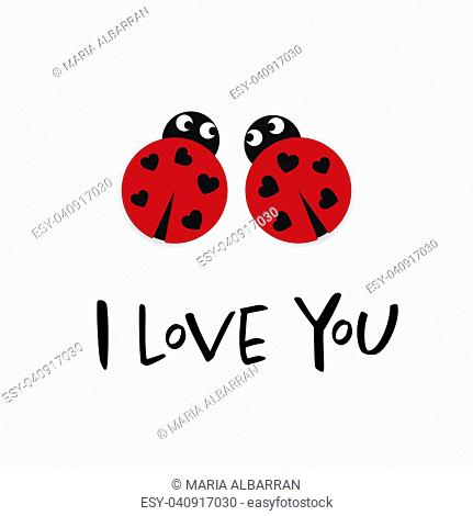 I love you card with two ladybugs illustration
