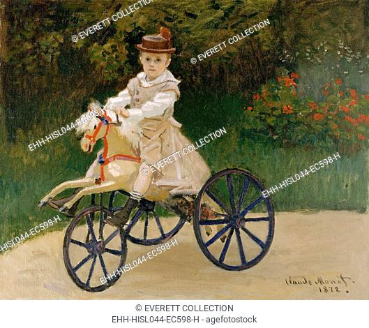 Jean Monet on His Hobby Horse, by Claude Monet, 1872, French impressionist painting, oil on canvas. Monet kept this portrait of his 5 year old son all of his...