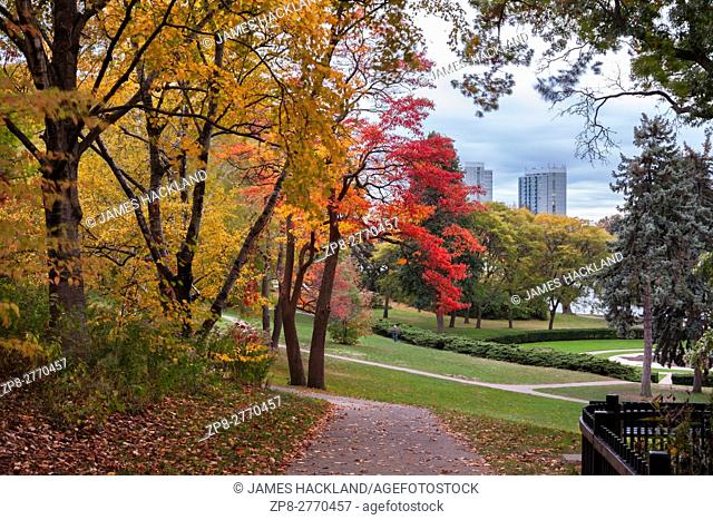 A trail and autumn colours in High Park, Toronto, Ontario, Canada