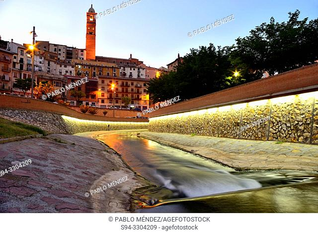 View of the canal and facades in Tarazona town, Zaragoza province, Spain