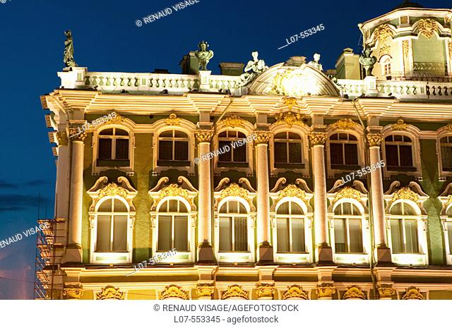 Facade of the Winter Palace of the Hermitage Museum at night. St Petersburg. Russia