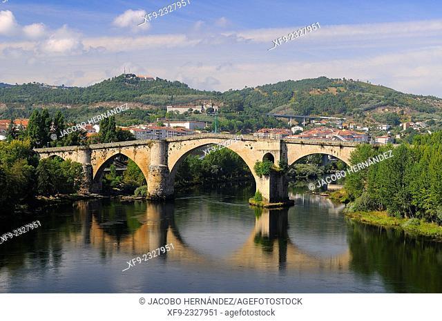 Roman bridge.Miño river.Ourense.Galicia.Spain