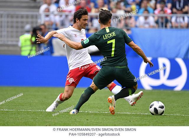 Thomas DELANEY (DEN), Action, duels versus Mathew LECKIE (AUS), Denmark (DEN) - Australia (AUS) 1-1, Preliminary Round, Group C, Match 22, on 21.06
